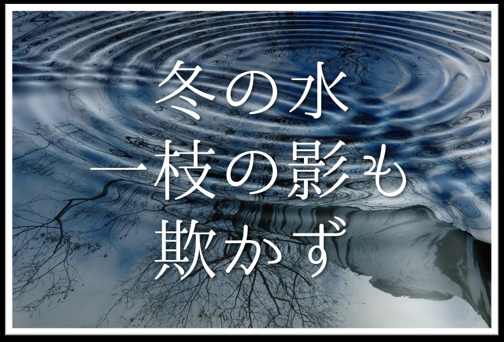 【冬の水一枝の影も欺かず】俳句の季語や意味・表現技法・鑑賞文・作者など徹底解説!!