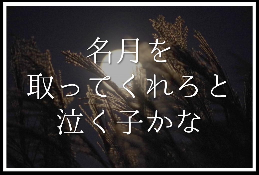 【名月を取ってくれろと泣く子かな】俳句の季語や意味・表現技法・鑑賞文・作者など徹底解説!!