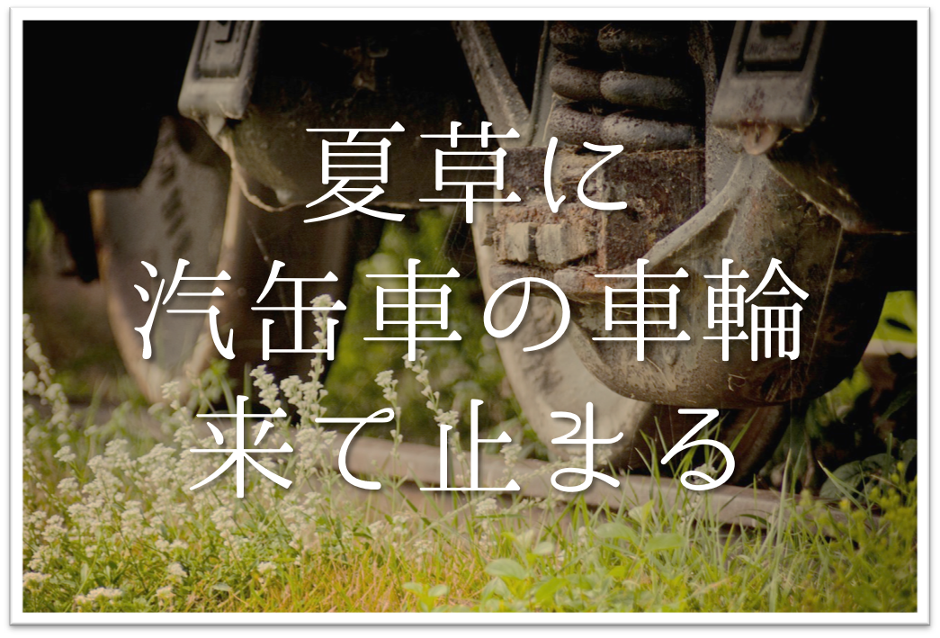 【夏草に汽缶車の車輪来て止まる】俳句の季語や意味・表現技法・鑑賞文・作者など徹底解説!!