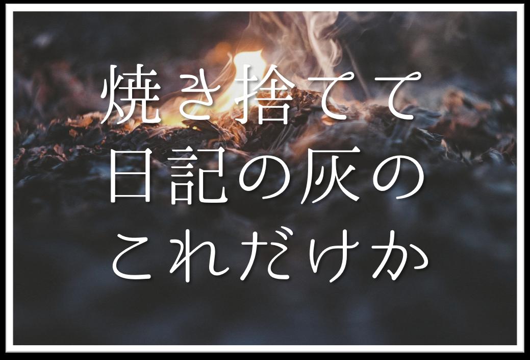 【焼き捨てて日記の灰のこれだけか】俳句の季語や意味・表現技法・鑑賞・作者など徹底解説!!
