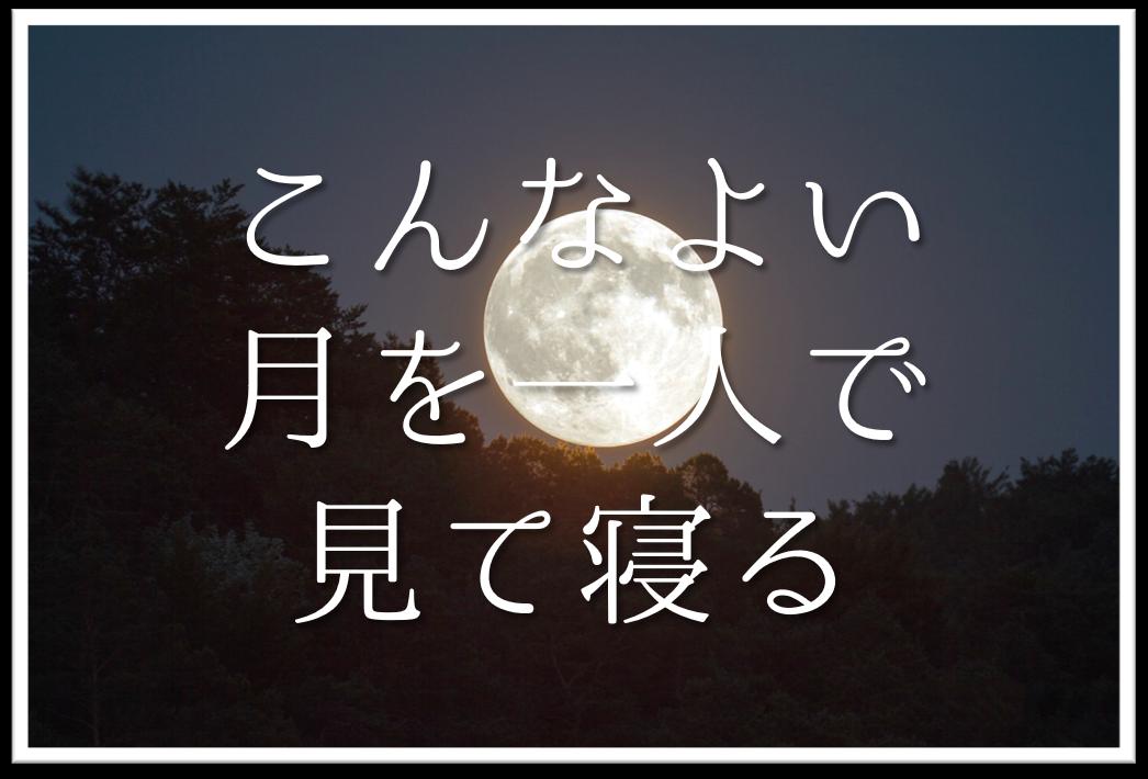 【こんなよい月を一人で見て寝る】俳句の季語や意味・表現技法・鑑賞文・作者など徹底解説!!