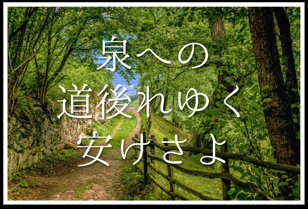 【泉への道後れゆく安けさよ】俳句の季語や意味・表現技法・鑑賞・作者など徹底解説!!