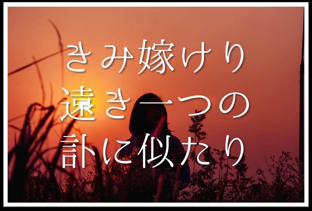 【きみ嫁けり遠き一つの訃に似たり】俳句の季語や意味・表現技法・鑑賞文・作者など徹底解説!!