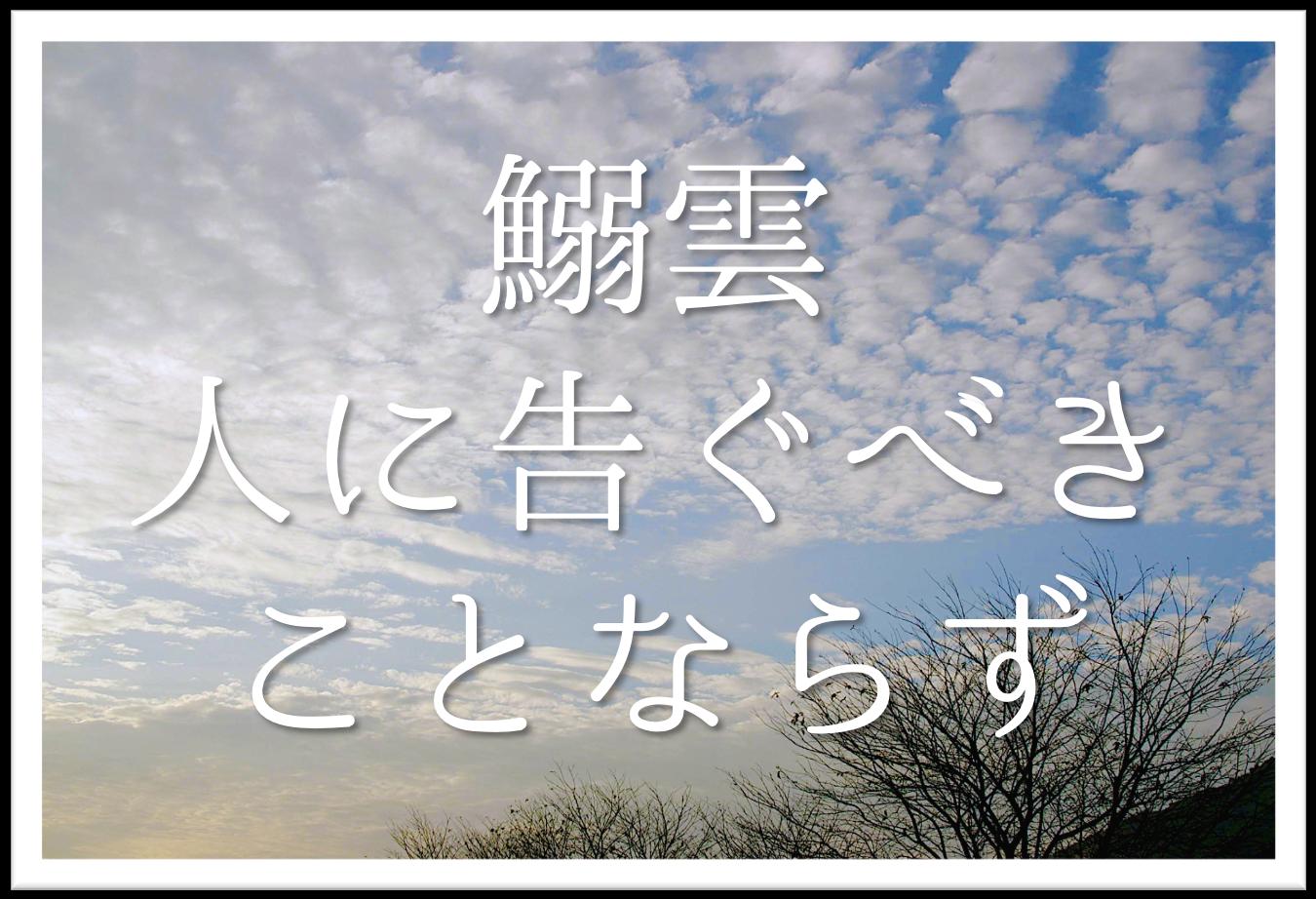 【鰯雲人に告ぐべきことならず】俳句の季語や意味・表現技法・鑑賞文・作者など徹底解説!!
